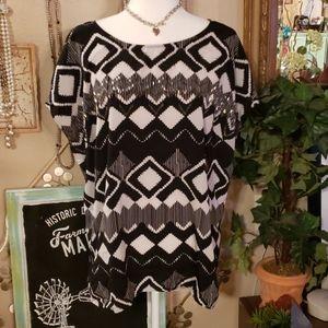Lane Bryant Black & White Blouse Size 18/20